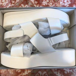 """Shoes - white 2"""" platform sandals"""